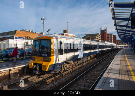 train standing at platform 2 at the new layout of gravesend station. - Stock Photo