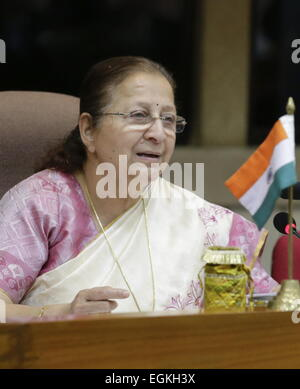 Delhi, India. 26th Feb, 2015. Sumitra Mahajan, chairperson of the Lok Sabha (Assembly of the People), the lower - Stock Photo