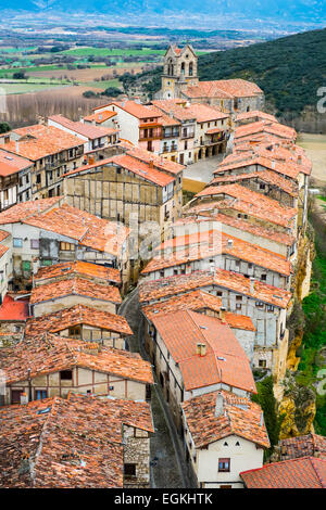 Village from the castle. Frias, Burgos, Castile and Leon. Spain, Europe. - Stock Photo