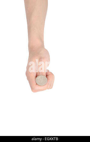 hand tossing a coin, isolated on white - Stock Photo