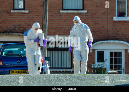25th August 2013, Belfast - Forensic officers attend a security alert in East Belfast - Stock Photo