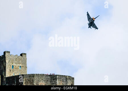 Eurojet Typhoon fighter aircraft over Carrick Castle, Armed Forces Day, 2013 - Stock Photo