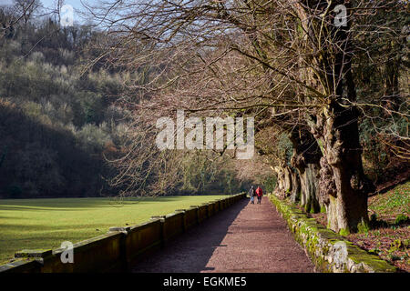 Walkers on the Manifold Trail in Ilam Park. Ilam, Staffordshire, England. [Peak District National Park] - Stock Photo