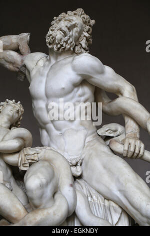 Hellenistic art. Lacoon and his Sons, Antiphantes and Thymbraeus being attacked by sea serpents. Vatican Museums. - Stock Photo