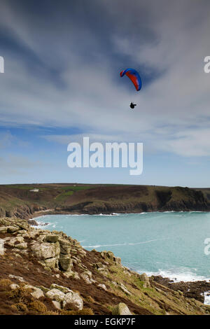 Paraglider; Land's End; Cornwall; UK - Stock Photo