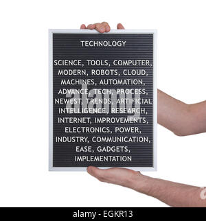 Technology concept in plastic letters on very old menu board, vintage look - Stock Photo