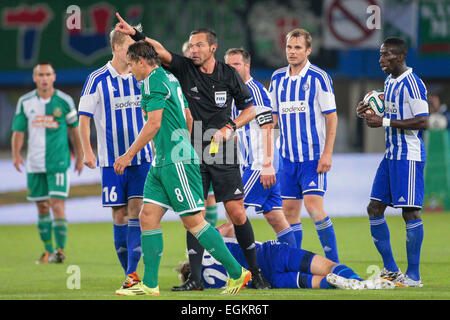 VIENNA, AUSTRIA - AUGUST 28, 2014: Referee Stephane Laurent Lannoy (France) shows the yellow card to Stefan Schwab - Stock Photo