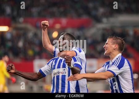 VIENNA, AUSTRIA - AUGUST 28, 2014: Demba Savage (#8 Helsinki) celebrates after scoring a goal in an UEFA Europa - Stock Photo