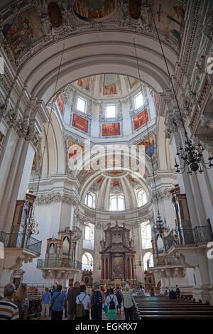 The interior of Salzburg Cathedral Austria - Stock Photo