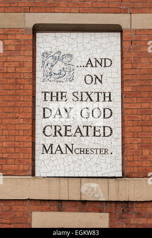 AND ON THE SIXTH DAY GOD CREATED MANCHESTER.  Mosaic by Mark Kennedy on Afflecks Palace. Northern Quarter. Manchester. - Stock Photo