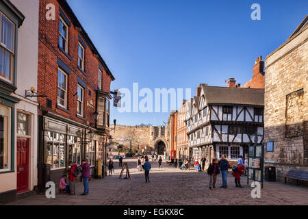 A view of the centre of Lincoln, Lincolnshire, England, UK, with Castle Hill and Exchequergate, the Magna Carta public house...