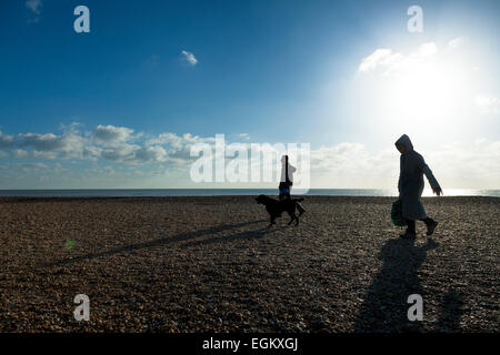 Two people walking a dog on a shingle beach on a sunny winter day with sun flare - Stock Photo