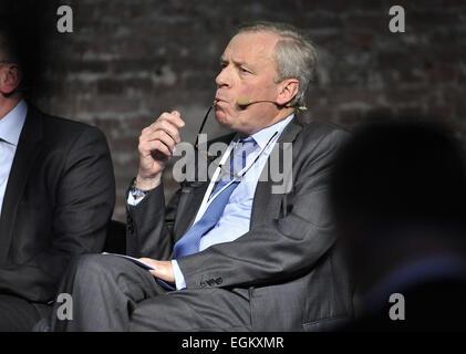 Brussels, Capital of Belgium. 26th Feb, 2015. Former NATO Secretary General Jaap de Hoop Scheffer attends a forum - Stock Photo