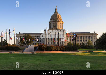 The north entrance of the Oklahoma State capitol building in the setting sun. - Stock Photo