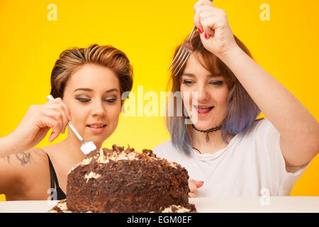 Two young woman about to eat a large chocolate cake. - Stock Photo
