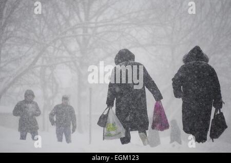 Vladivostok, Russia. 26th Feb, 2015. People walking through heavy snowfall. Credit:  Yuri Smityuk/TASS/Alamy Live - Stock Photo
