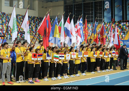 ISTANBUL, TURKEY - FEBRUARY 21, 2015: Opening ceremony of Balkan Athletics Indoor Championships in Asli Cakir Alptekin - Stock Photo