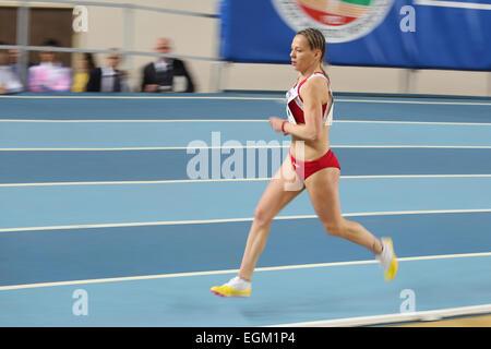 ISTANBUL, TURKEY - FEBRUARY 21, 2015: Montenegrin athlete Sladjana Perunovic running during Balkan Athletics Indoor - Stock Photo