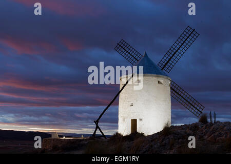Don Quixote windmills in La Mancha, Spain. - Stock Photo