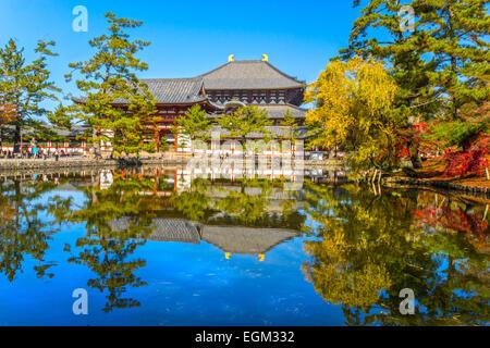 Todai-ji temple in autumn, Nara, Japan. - Stock Photo