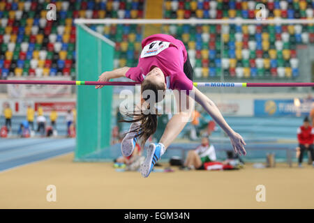 ISTANBUL, TURKEY - FEBRUARY 21, 2015: Bosnian athlete Nikolija Stanivukovic high jump during Balkan Athletics Indoor - Stock Photo