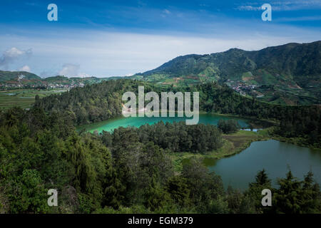 View of volcanic lake in Central Java, Indonesia - Stock Photo