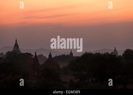 Twilight over Bagan tamples at sunset, Bagan Plain, Myanmar ( burma ), Asia - Stock Photo