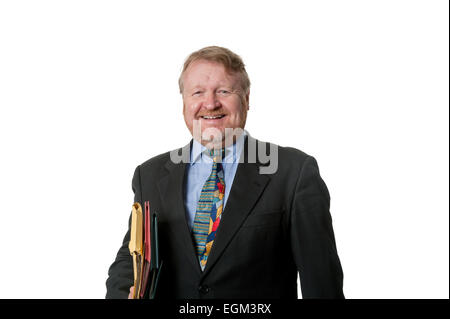Laughing businessman , isolated on white - Stock Photo