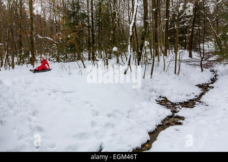 River head, of the  Ruhr, winter, - Stock Photo