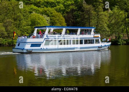 River cruise on river Ruhr, - Stock Photo