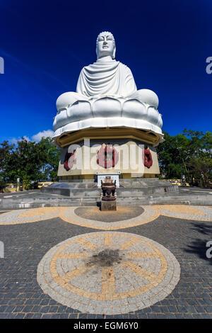 White Buddha Statue at Long Son Pagoda in Nha Trang, Vietnam - Stock Photo
