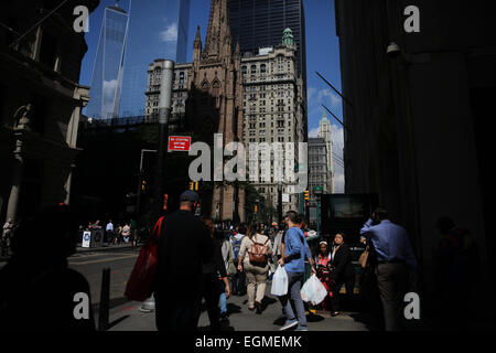 A street scene in Downtown Manhattan showing The One World Trade Center in New York City, USA. 16th September 2014. - Stock Photo