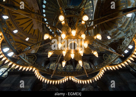 One of the large pendant chandeliers hanging in hagia sophia in one of the large chandeliers hanging in hagia sophia in istanbul originally built in 537 aloadofball Images