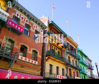 Chinatown, San Francisco on a sunny day with blue skies. - Stock Photo