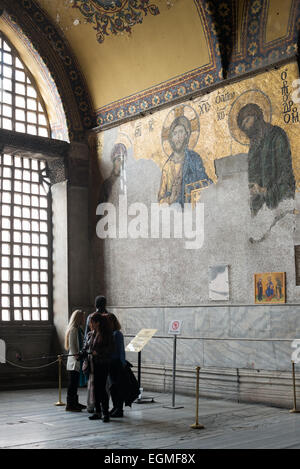 Dating to around 1261, the Deësis mosaic is located in the imperial closure of the upper galleries of Hagia Sophia. - Stock Photo