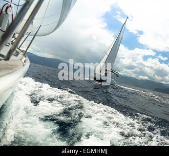 Yacht race in stormy weather. Sailing regatta. - Stock Photo