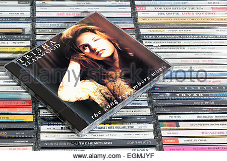 Trisha Yearwood 1993 album The Song Remembers When, piled music CD cases, England - Stock Photo