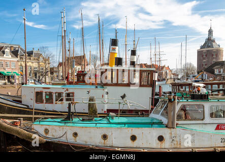 Maritime mood in the port of Enkhuizen, a historic town, situated on the IJsselmeer, North Holland, The Netherlands. - Stock Photo