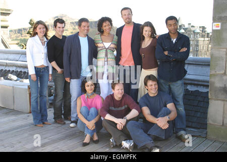 'SERENITY' movie Photocall, as part of the Edinburgh International Film Festival. (left to right back, Jewel Staite, - Stock Photo
