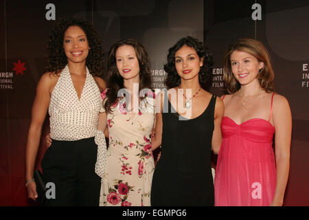 (l to r) GINA TORRES, SUMMER GLAU, MORENA BACCARIN, JEWEL STAITE, AT WORLD PREMIERE OF 'SERENITY' MOVIE, written - Stock Photo
