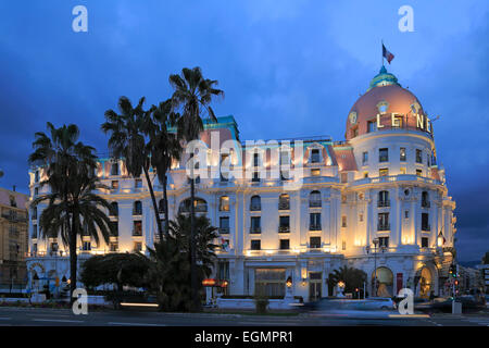 Hotel Le Negresco on the Promenade des Anglais in the evening, Nice, Alpes-Maritimes department, Cote d'Azur, - Stock Photo