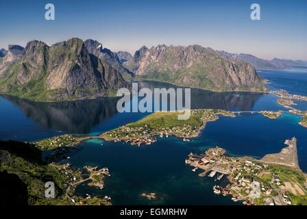 Beautiful aerial view of town Reine and surrounding fjords on Lofoten islands - Stock Photo