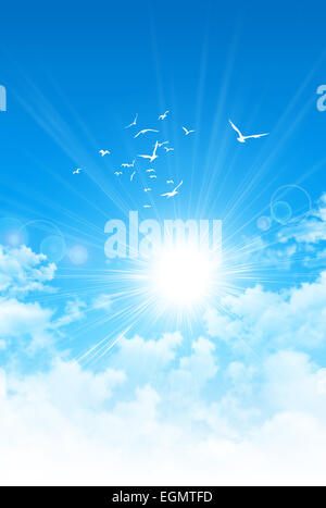 Spring sunrise. The sun breaking through white clouds. Birds flight high up in blue sky - Stock Photo