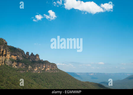 View of the Three Sisters in the Blue Mountains, Australia. - Stock Photo