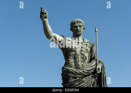 Rome. Italy. Statue of Roman Emperor Augustus on via dei Fori Imperiali. - Stock Photo