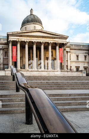The National Gallery in London, one of the most visited art museums in the world, here on a quiet Sunday morning. - Stock Photo