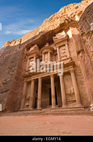 The treasury is also called Al Khazna, it is the most magnificant and famous facade in Petra Jordan - Stock Photo