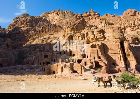 PETRA, JORDAN - 12OCTOBER, 2014: Caves in the rocks in Petra in Jordan - Stock Photo