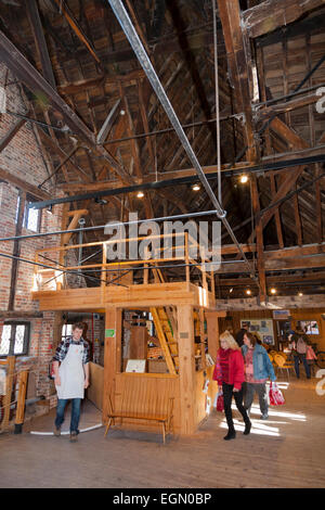 Inside / interior of the Winchester Mill on River Itchen. Winchester, UK. - Stock Photo