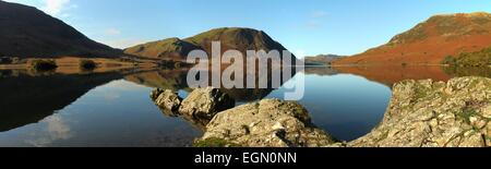 Crummock water and Mellbreak. Winter afternoon in the Buttermere valley, English lake district. Lake district panorama - Stock Photo